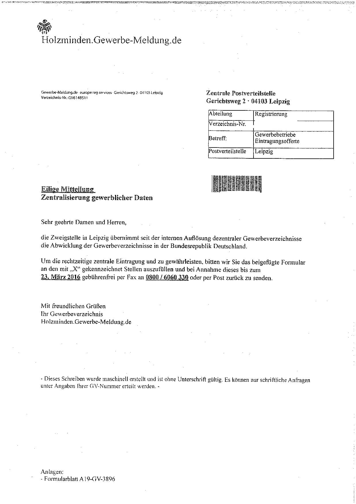 Briefe Schreiben Steuerberater : Vorsicht bei schreiben von der gewerbeauskunft zentrale